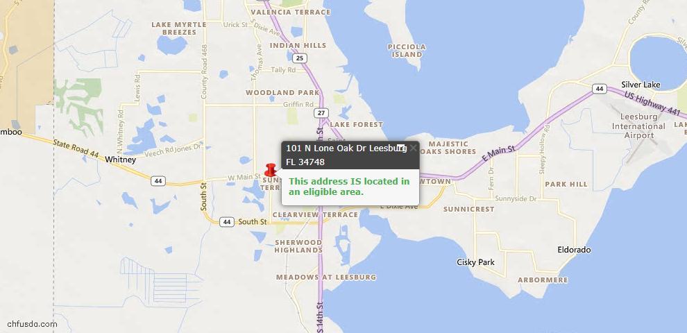 USDA Loan Eligiblity Map - 101 N Lone Oak Dr, Leesburg, FL 34748