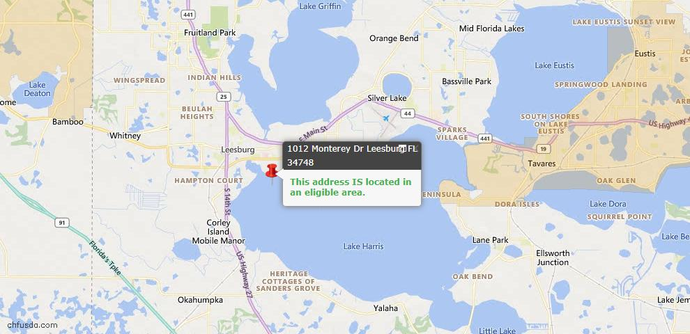 USDA Loan Eligiblity Map - 1012 Monterey Dr, Leesburg, FL 34748