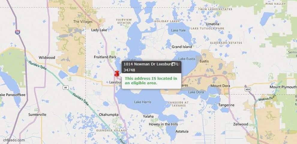 USDA Loan Eligiblity Map - 1014 Newman Dr, Leesburg, FL 34748
