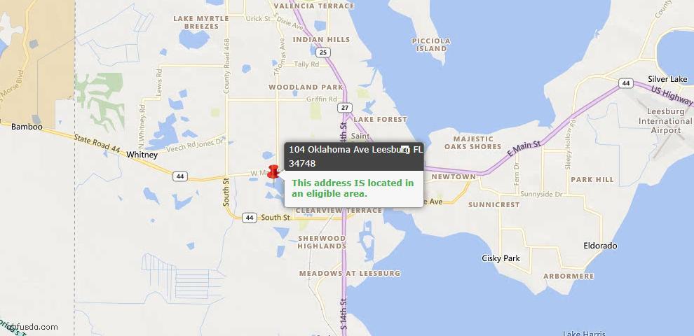 USDA Loan Eligiblity Map - 104 Oklahoma Ave, Leesburg, FL 34748
