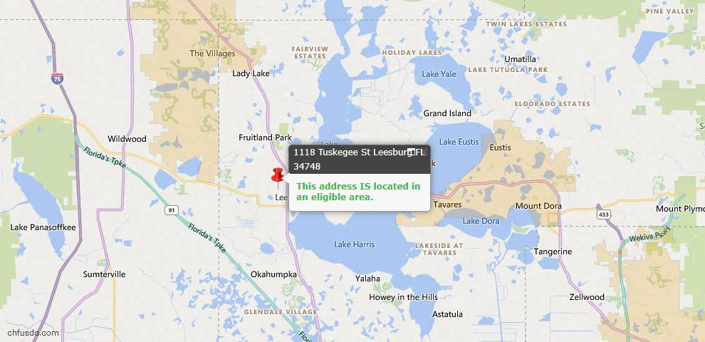USDA Loan Eligiblity Map - 1118 Tuskegee St, Leesburg, FL 34748
