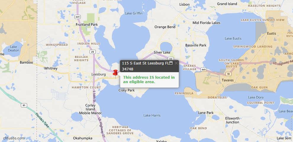 USDA Loan Eligiblity Map - 115 S East St, Leesburg, FL 34748