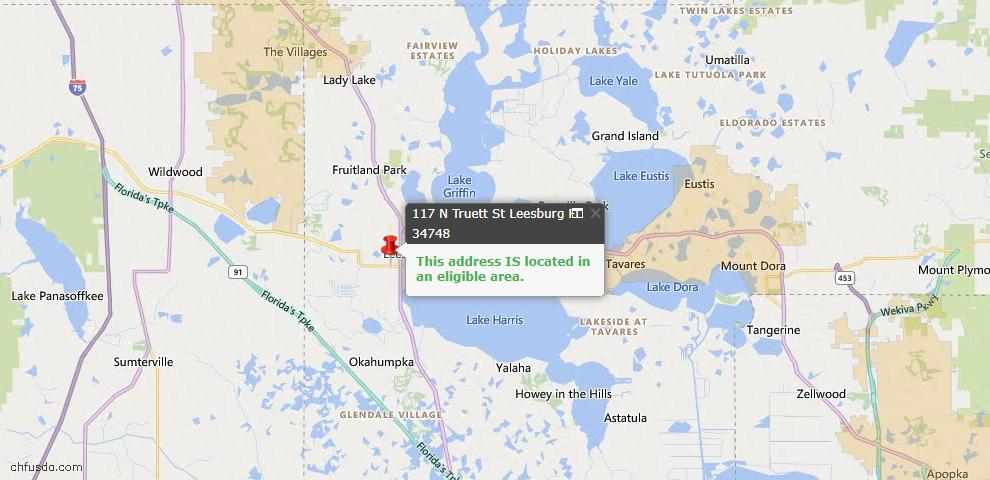 USDA Loan Eligiblity Map - 117 N Truett St, Leesburg, FL 34748