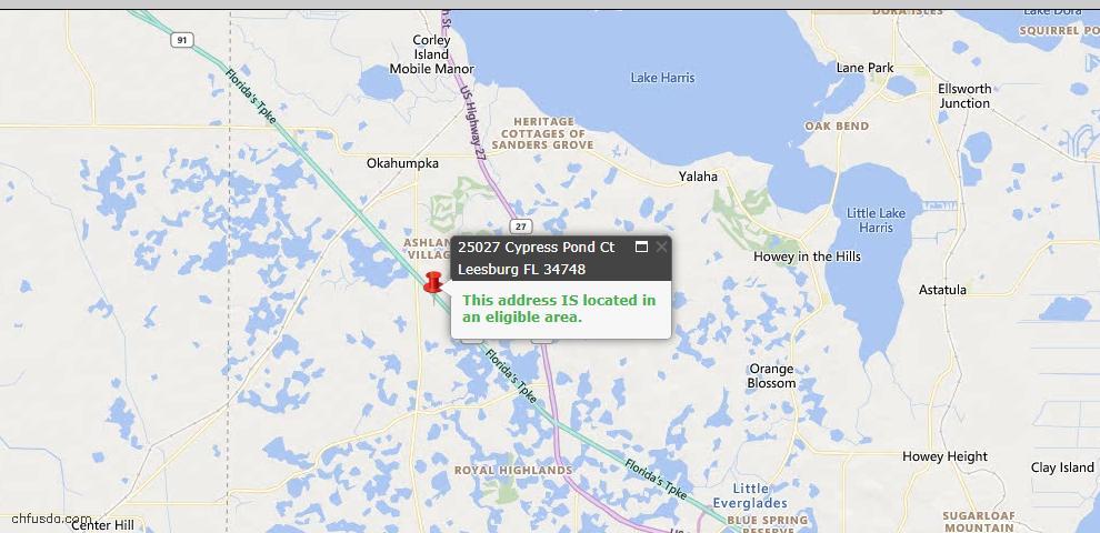 USDA Loan Eligiblity Map - 25027 Cypress Pond Ct, Leesburg, FL 34748