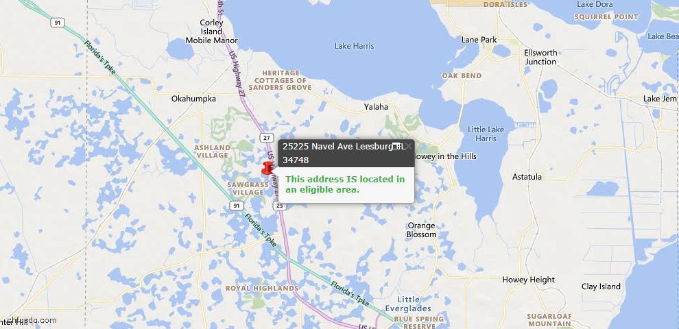 USDA Loan Eligiblity Map - 25225 Navel Ave, Leesburg, FL 34748