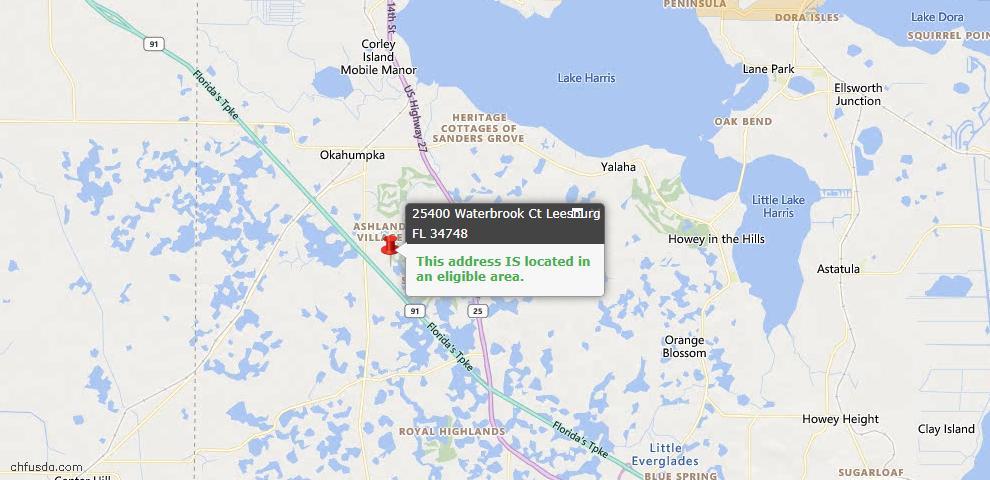 USDA Loan Eligiblity Map - 25400 Waterbrook Ct, Leesburg, FL 34748