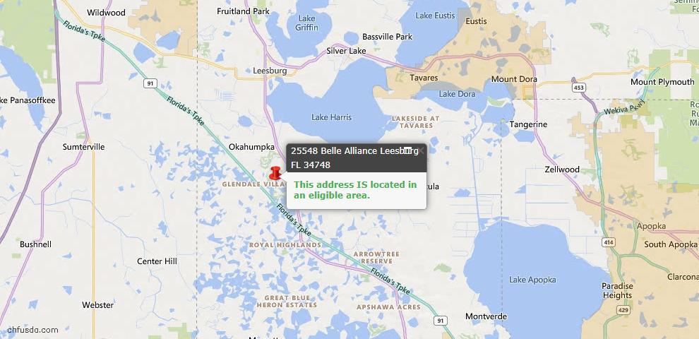 USDA Loan Eligiblity Map - 25548 Belle Alliance, Leesburg, FL 34748
