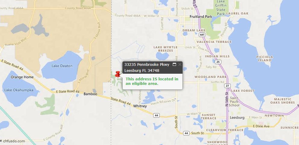 USDA Loan Eligiblity Maps From - Leesburg, FL