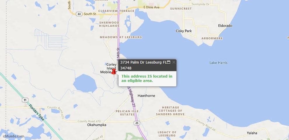 USDA Loan Eligiblity Map - 3734 Palm Dr, Leesburg, FL 34748