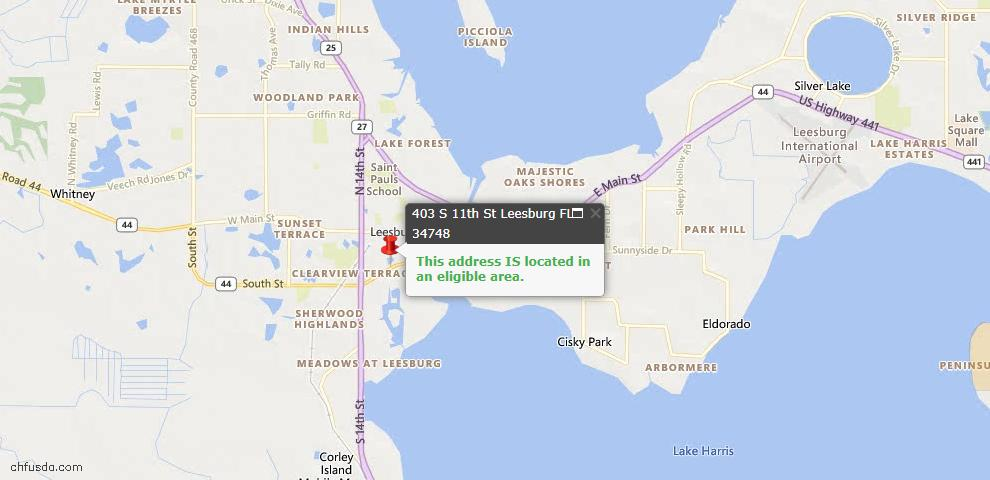 USDA Loan Eligiblity Map - 403 S 11th St, Leesburg, FL 34748