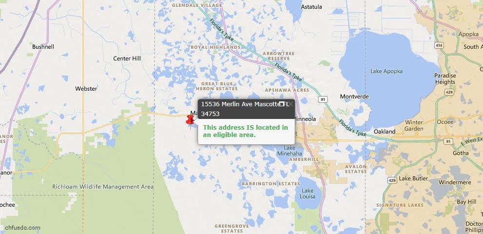 USDA Loan Eligiblity Map - 15536 Merlin, Mascotte, FL 34753