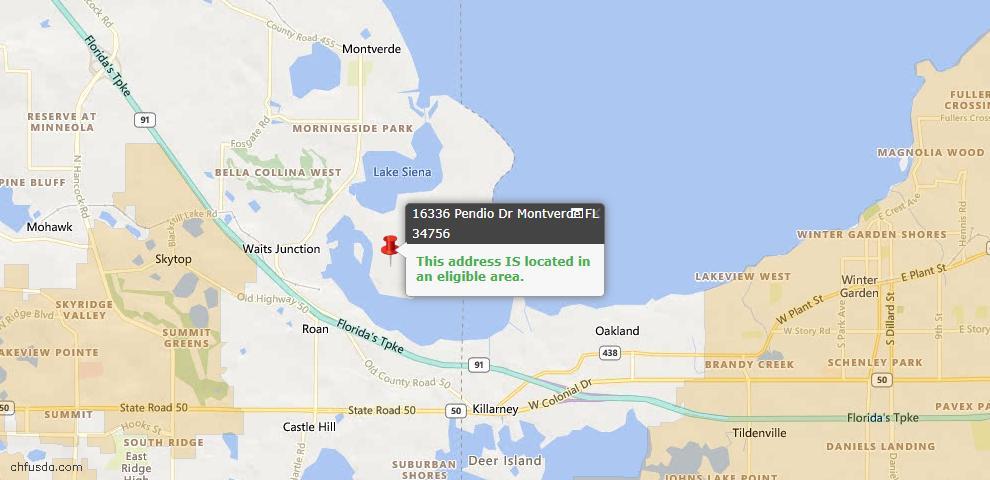 USDA Loan Eligiblity Maps From - Montverde, FL