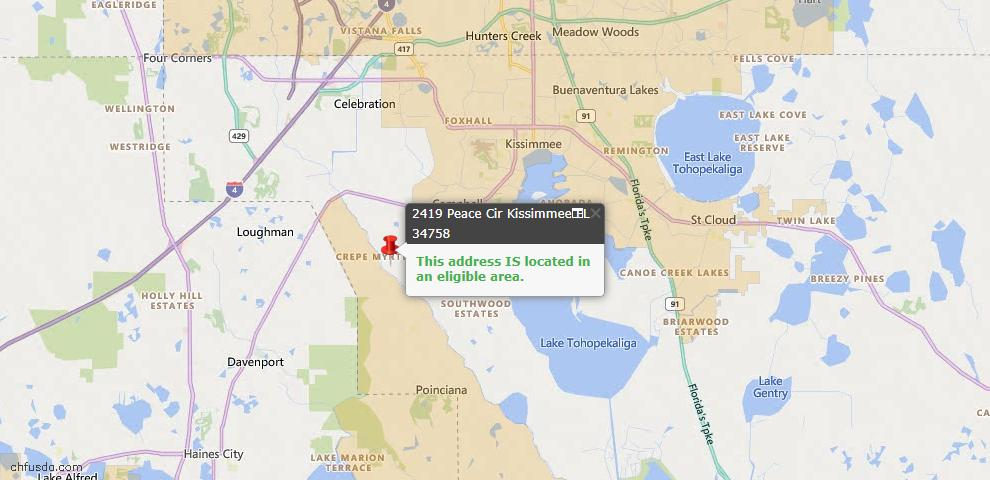 USDA Loan Eligiblity Map - 2419 Peace Cir, Kissimmee, FL 34758