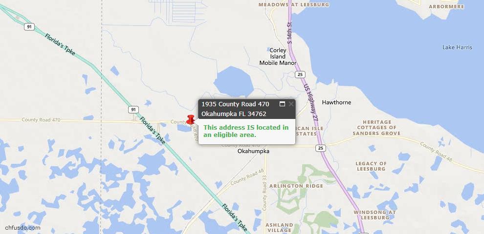 USDA Loan Eligiblity Maps From - Okahumpka, FL