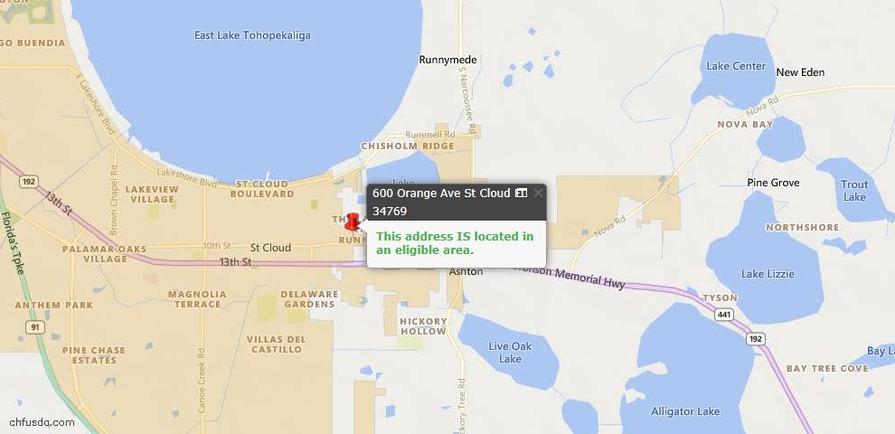 USDA Loan Eligiblity Map - 600 Orange Ave, Saint Cloud, FL 34769