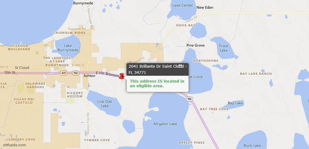 USDA Loan Eligiblity Maps From - Saint Cloud, FL