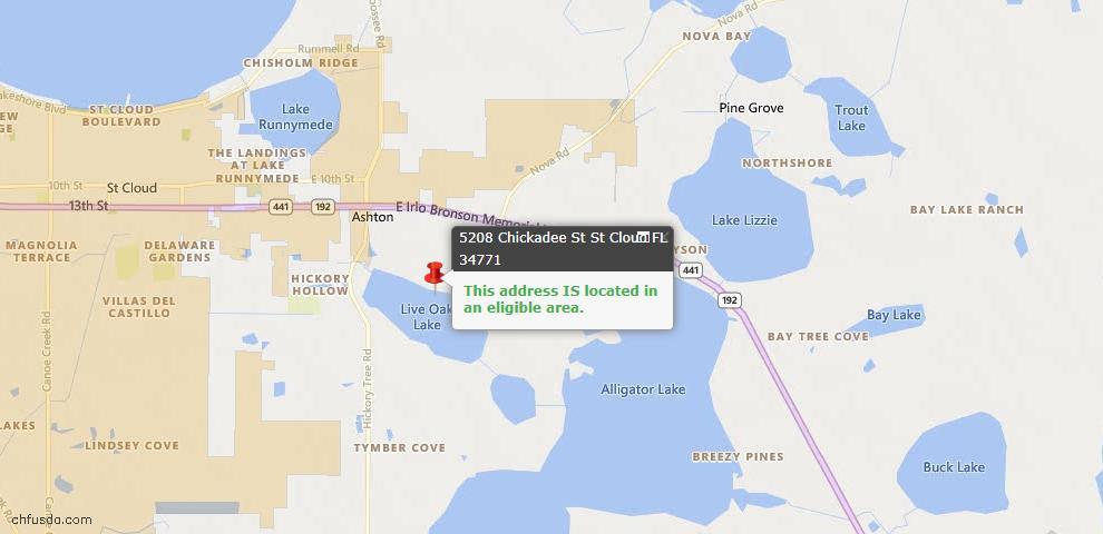 USDA Loan Eligiblity Map - 5208 Chickadee St, Saint Cloud, FL 34771