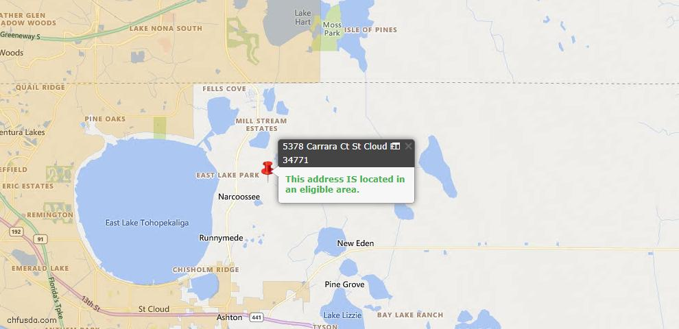 USDA Loan Eligiblity Map - 5378 Carrara Ct, Saint Cloud, FL 34771