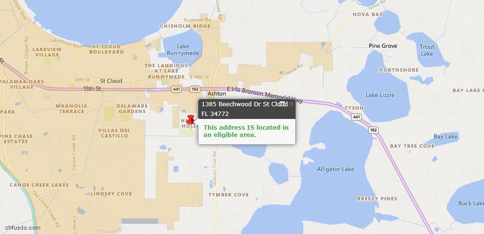 USDA Loan Eligiblity Map - 1385 Beechwood Dr, Saint Cloud, FL 34772