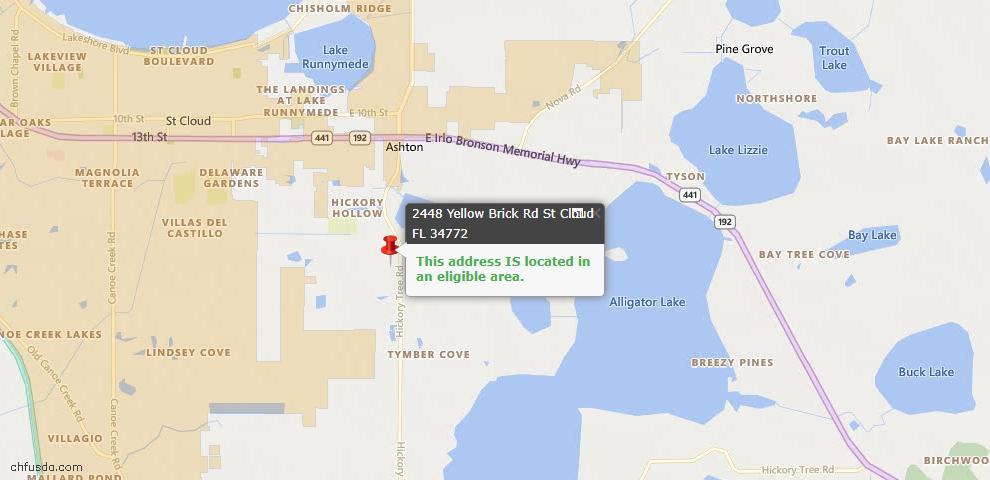 USDA Loan Eligiblity Map - 2448 Yellow Brick Rd, Saint Cloud, FL 34772