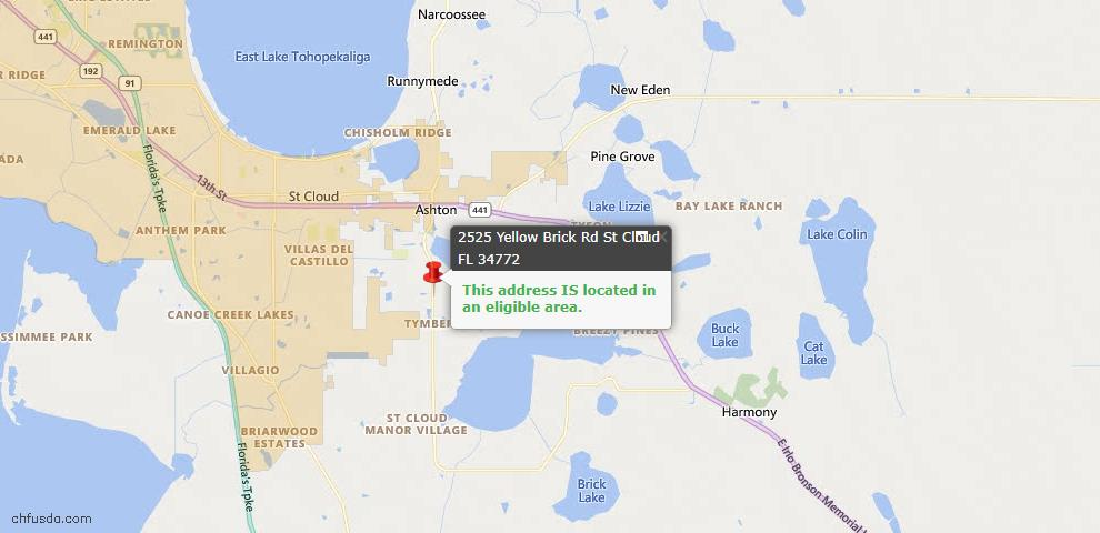 USDA Loan Eligiblity Map - 2525 Yellow Brick Rd, Saint Cloud, FL 34772