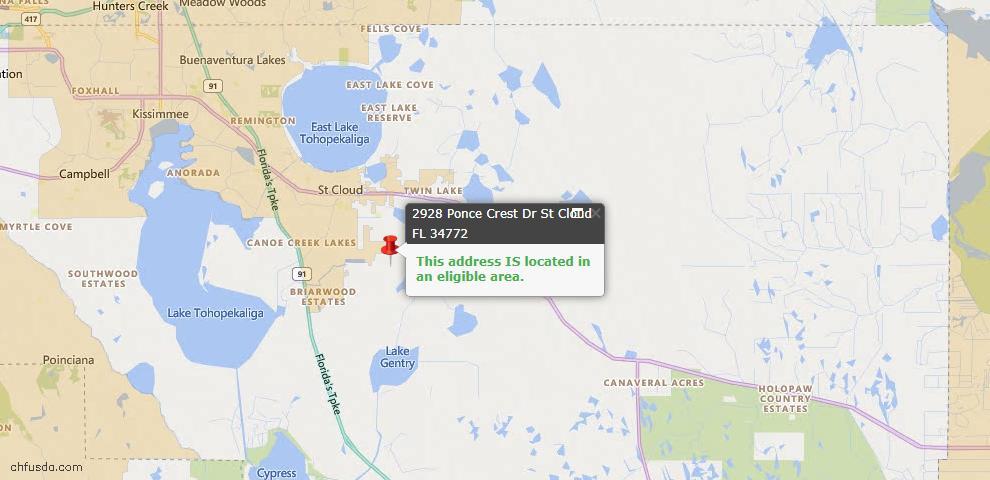 USDA Loan Eligiblity Map - 2928 Ponce Crest Dr, Saint Cloud, FL 34772