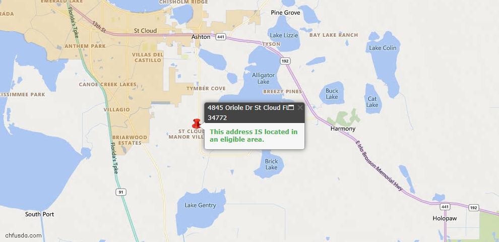 USDA Loan Eligiblity Map - 4845 Oriole Dr, Saint Cloud, FL 34772