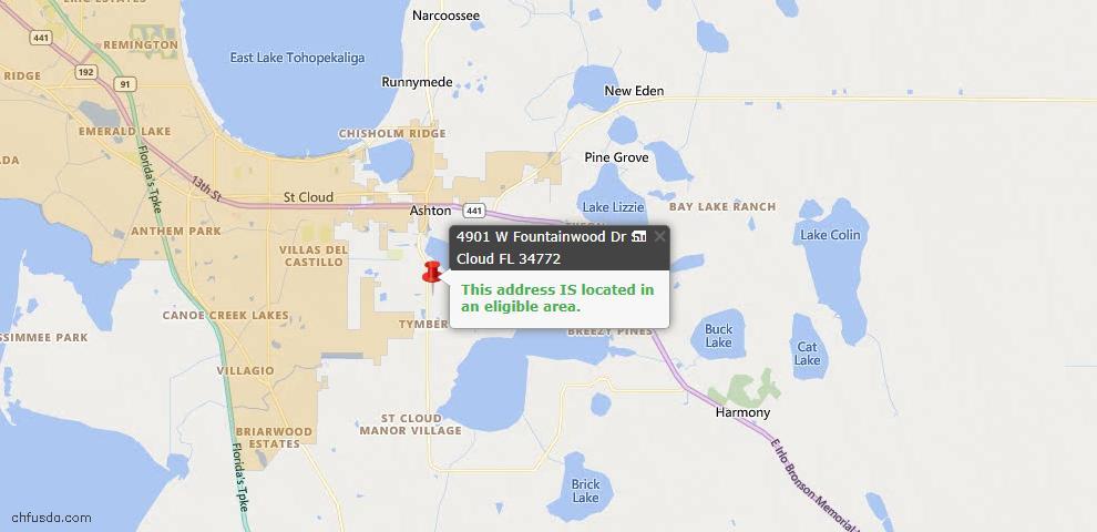 USDA Loan Eligiblity Map - 4901 W Fountainwood Dr, Saint Cloud, FL 34772