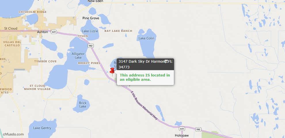 USDA Loan Eligiblity Map - 3147 Dark Sky Dr, Harmony, FL 34773