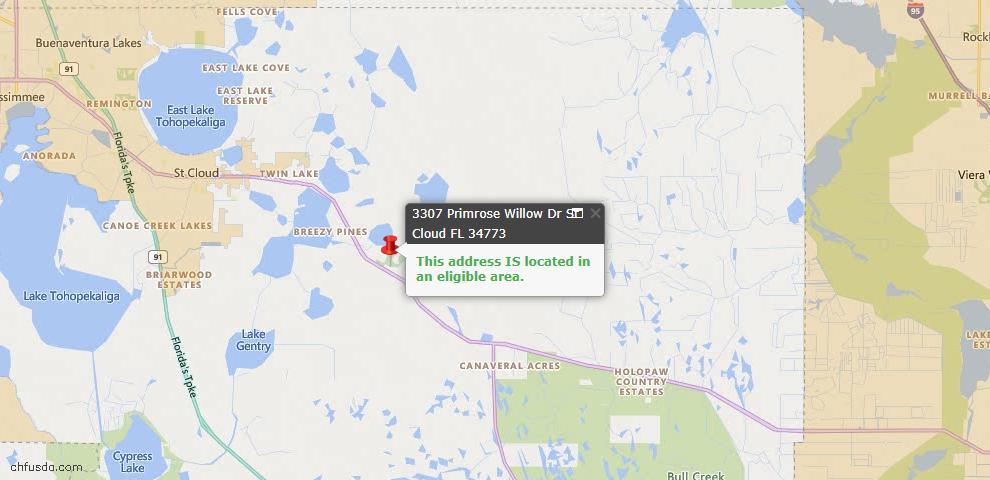 USDA Loan Eligiblity Map - 3307 Primrose Willow Dr, Harmony, FL 34773