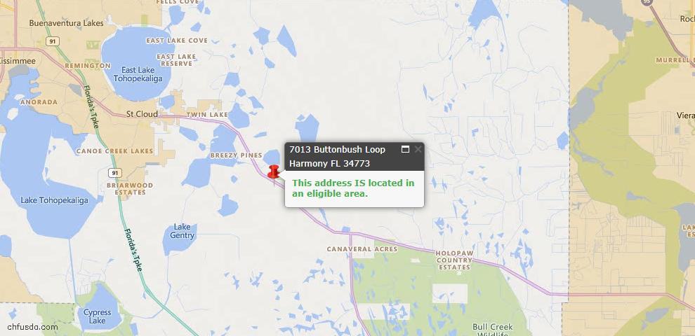 USDA Loan Eligiblity Map - 7013 Buttonbush Loop, Harmony, FL 34773