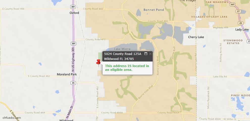 USDA Loan Eligiblity Maps From - Wildwood, FL