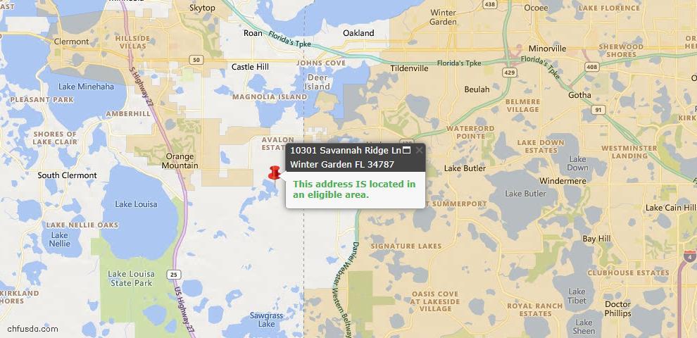 USDA Loan Eligiblity Map - 10301 Savannah Ridge Ln, Winter Garden, FL 34787