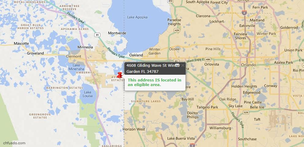 USDA Loan Eligiblity Map - 4608 Gliding Wave St, Winter Garden, FL 34787
