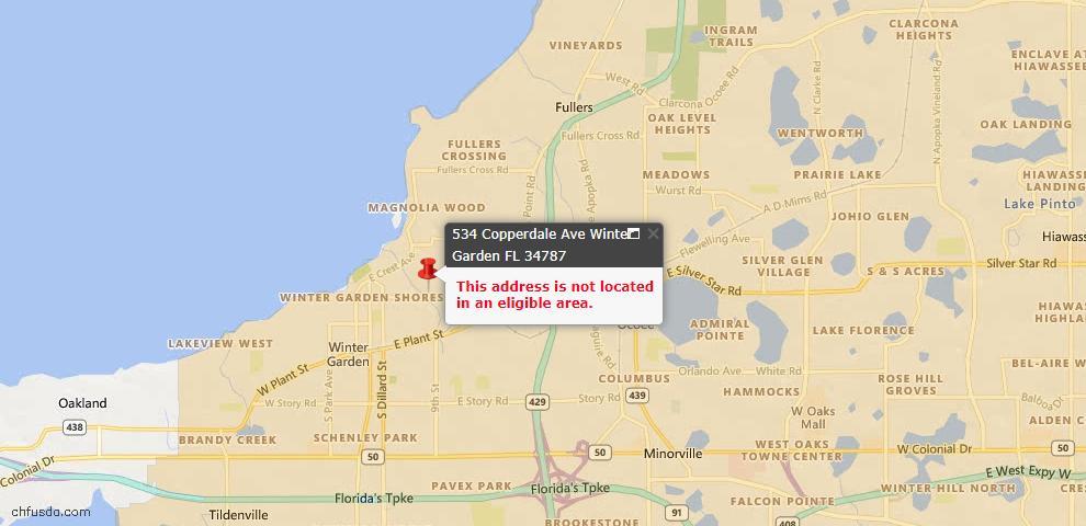 USDA Loan Eligiblity Maps From - Winter Garden, FL