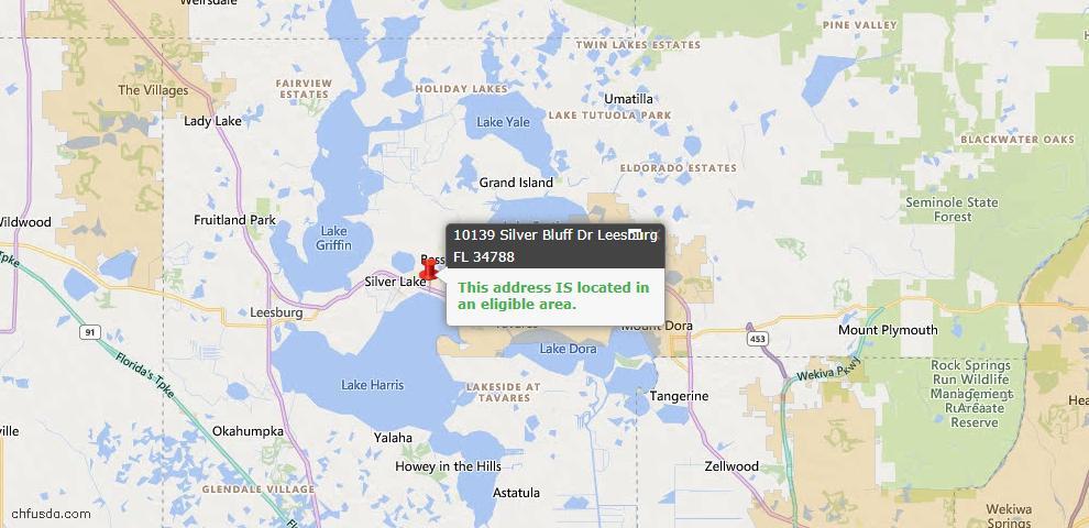 USDA Loan Eligiblity Map - 10139 Silver Bluff Dr, Leesburg, FL 34788