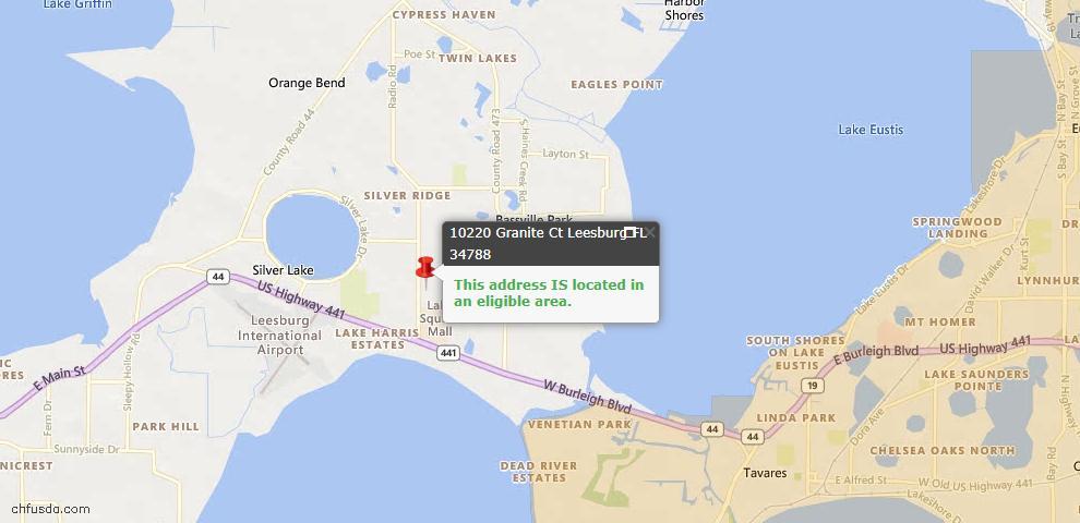 USDA Loan Eligiblity Map - 10220 Granite Ct, Leesburg, FL 34788