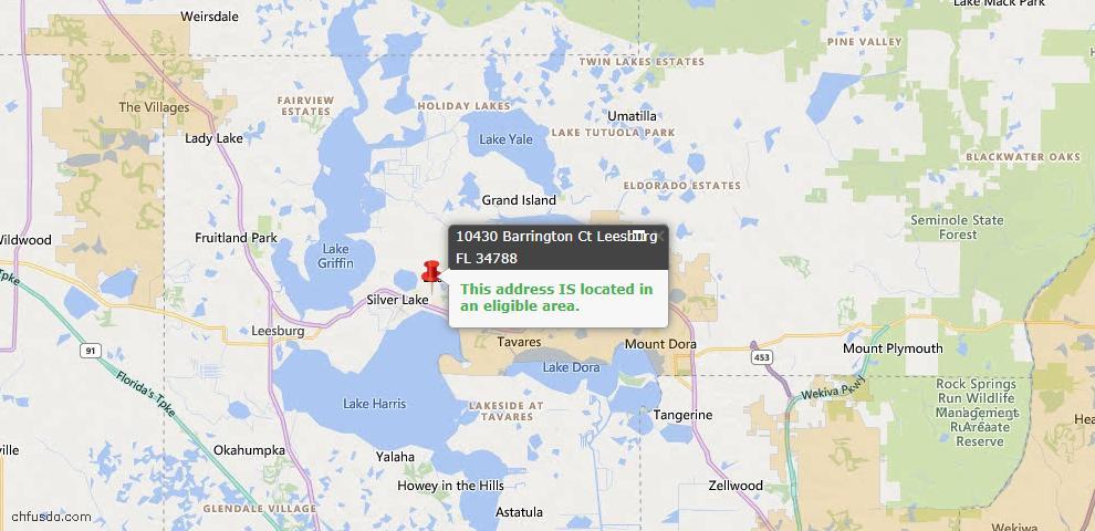 USDA Loan Eligiblity Map - 10430 Barrington Ct, Leesburg, FL 34788