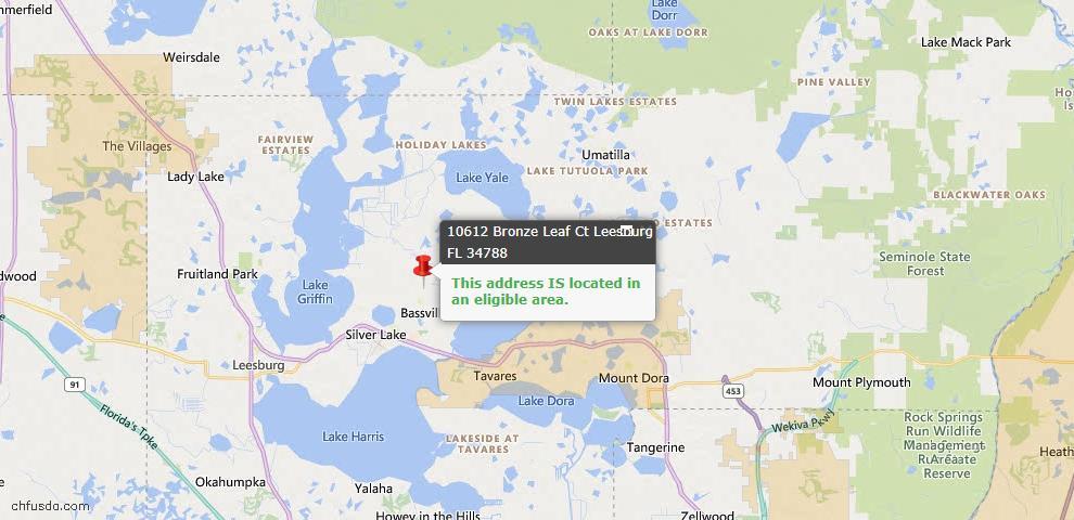 USDA Loan Eligiblity Map - 10612 Bronze Leaf Ct, Leesburg, FL 34788