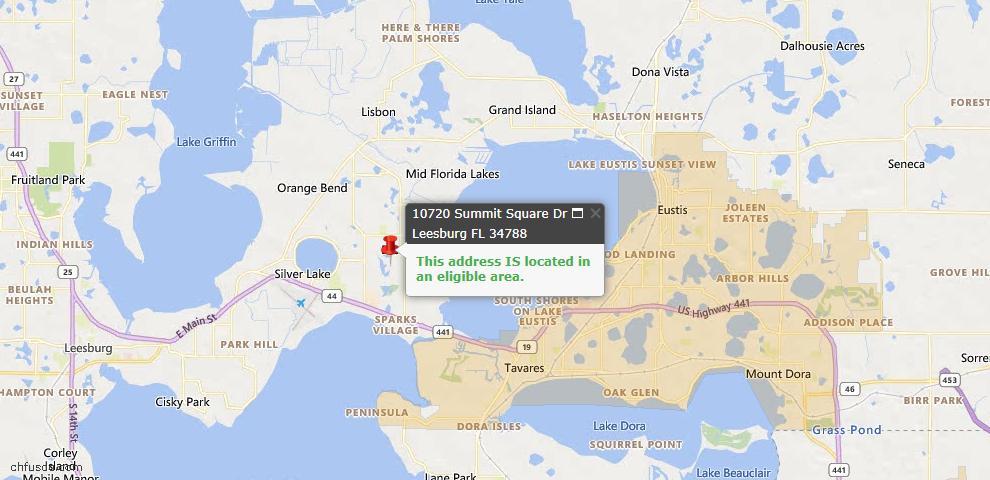 USDA Loan Eligiblity Map - 10720 Summit Square Dr, Leesburg, FL 34788