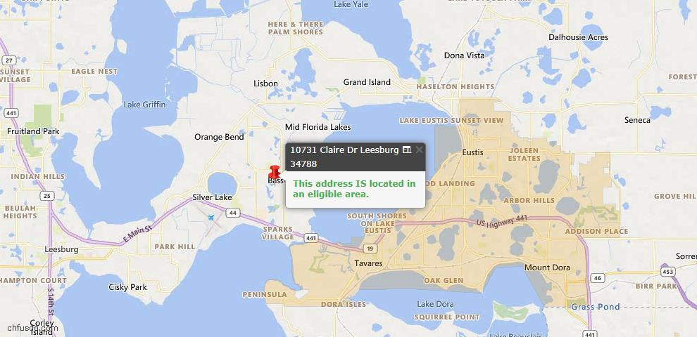 USDA Loan Eligiblity Map - 10731 Claire Dr, Leesburg, FL 34788