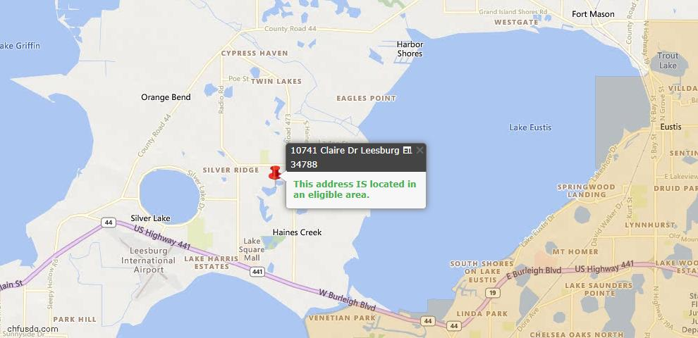 USDA Loan Eligiblity Map - 10741 Claire Dr, Leesburg, FL 34788