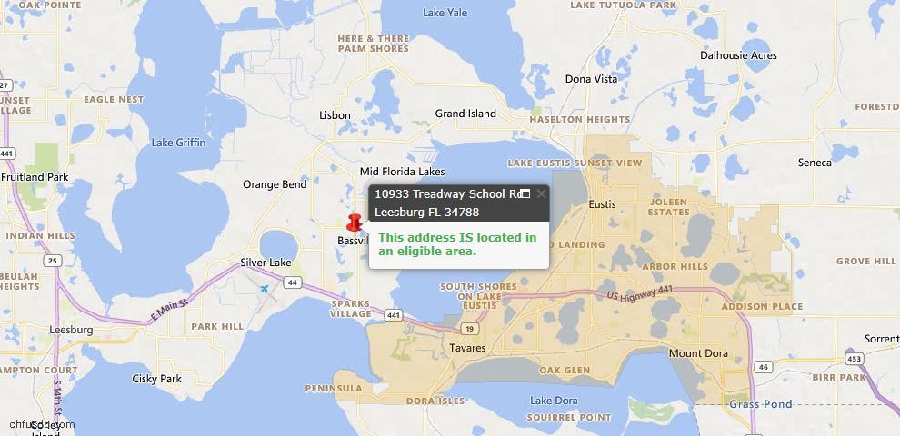 USDA Loan Eligiblity Map - 10933 Treadway School Rd, Leesburg, FL 34788