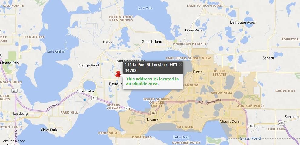 USDA Loan Eligiblity Map - 11145 Pine St, Leesburg, FL 34788