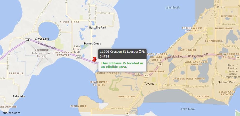 USDA Loan Eligiblity Map - 11206 Crossen St, Leesburg, FL 34788
