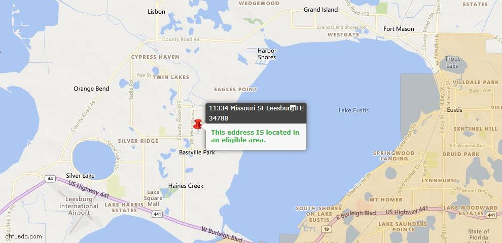 USDA Loan Eligiblity Map - 11334 Missouri St, Leesburg, FL 34788