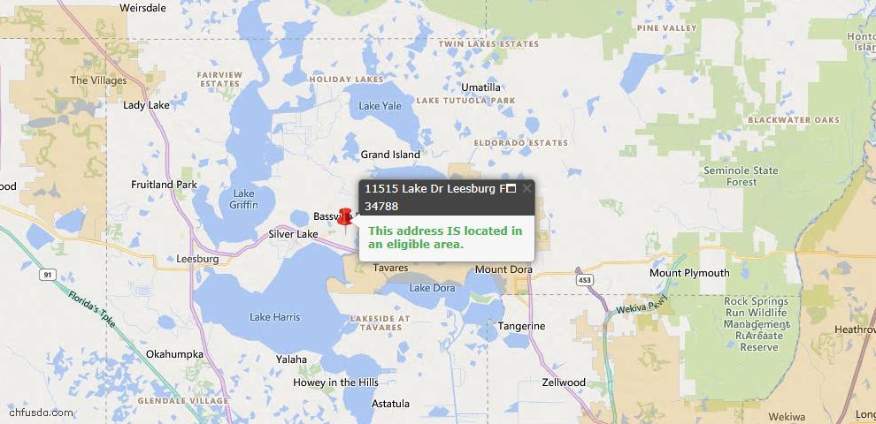 USDA Loan Eligiblity Map - 11515 Lake Dr, Leesburg, FL 34788