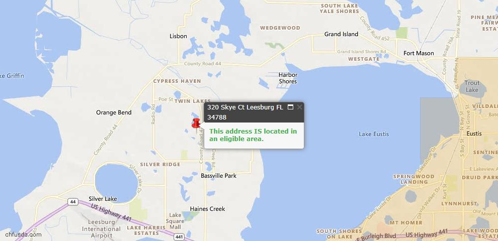 USDA Loan Eligiblity Map - 320 Skye Ct, Leesburg, FL 34788