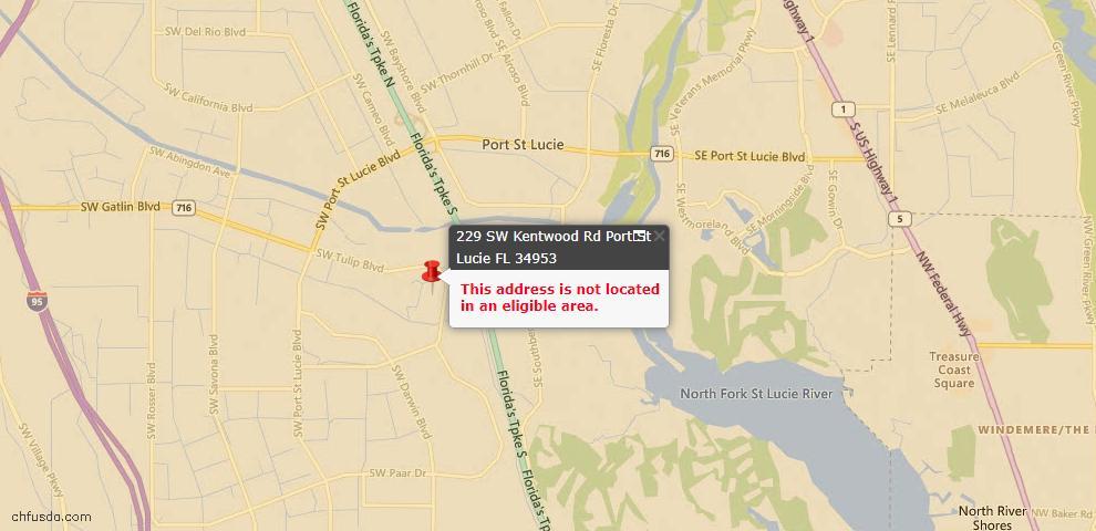 USDA Loan Eligiblity Maps From - Port Saint Lucie, FL