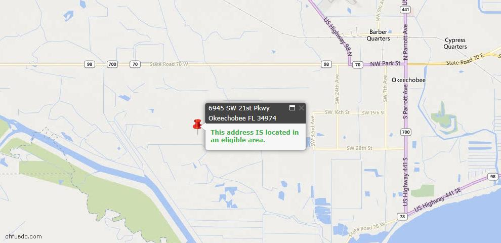 USDA Loan Eligiblity Maps From - Okeechobee, FL